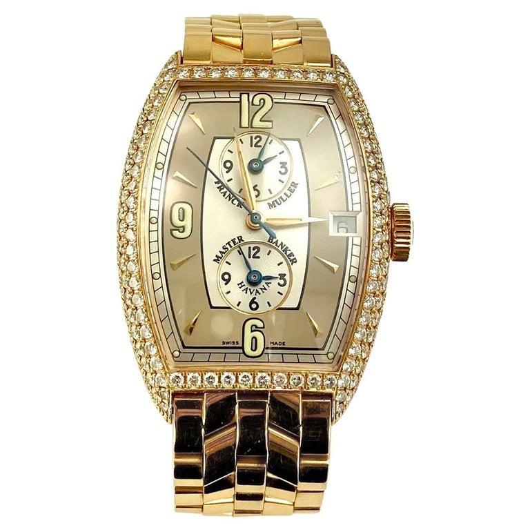 Franck Muller Master Banker Diamond Rose Gold Watch Small Wrist Size For Sale
