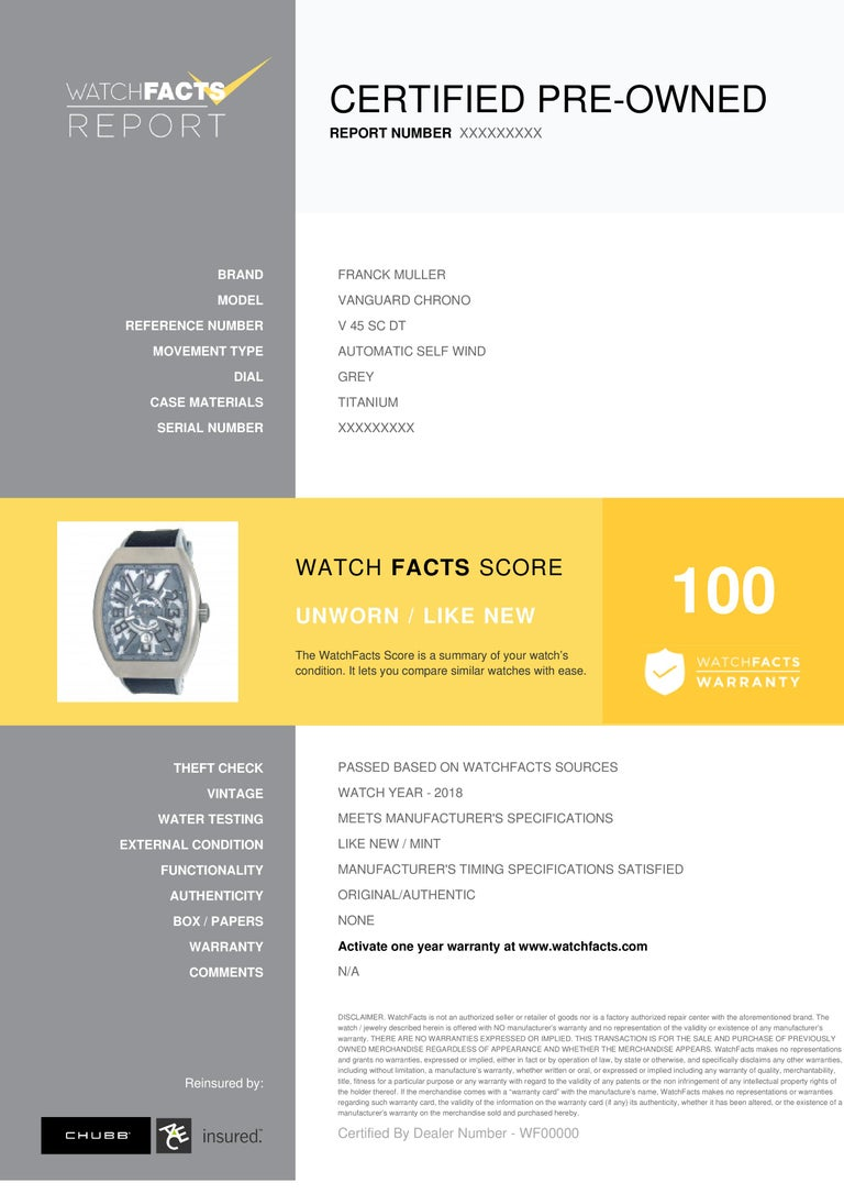 Franck Muller Vanguard Chrono Reference #: V 45 SC DT. Mens Automatic Self Wind Watch Titanium Grey 44 MM. Verified and Certified by WatchFacts. 1 year warranty offered by WatchFacts.