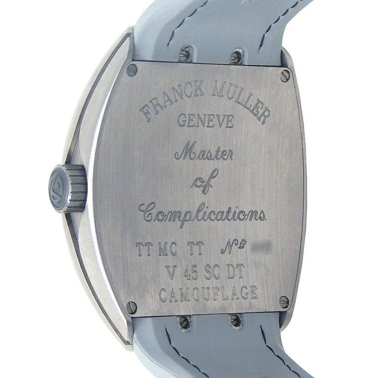 Contemporary Franck Muller Vanguard Chrono V 45 SC DT, Grey Dial, Certified For Sale