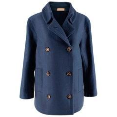 Franck Namani Blue Cashmere Double Breasted Jacket - Size US 10