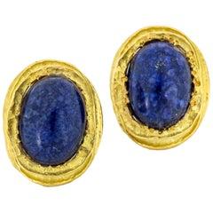 Franck's 18 Karat Yellow Gold Sodalite Clip-On Earrings