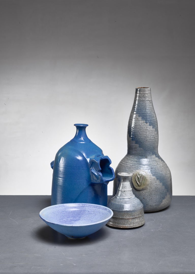 Mid-Century Modern Franco Agnese Set of Four Blue and Grey Ceramic Pieces, France, 1960s For Sale