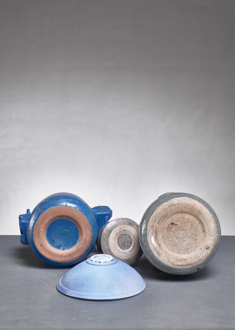 French Franco Agnese Set of Four Blue and Grey Ceramic Pieces, France, 1960s For Sale