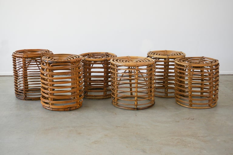 Stools in the style of Franco Albini in signature bamboo with great patina.