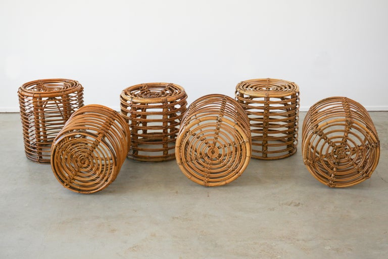 Mid-20th Century Italian Bamboo Stools For Sale