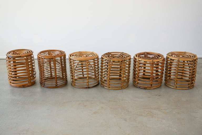 Rattan Italian Bamboo Stools For Sale