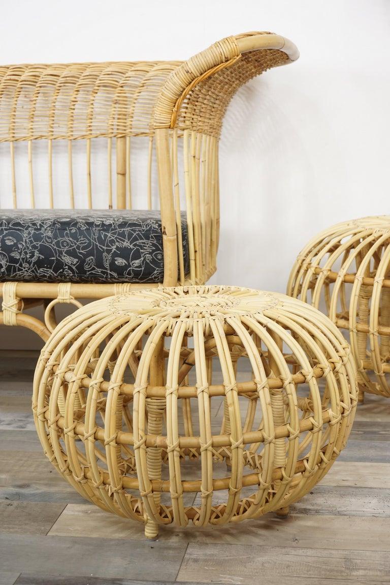 Italian design by Franco Albini rattan ottoman.