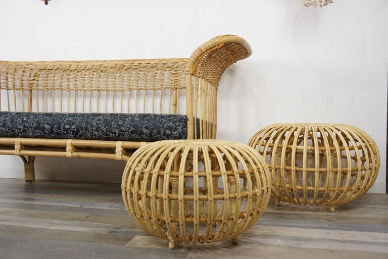 Mid-Century Modern Franco Albini Design Large Rattan Ottoman For Sale
