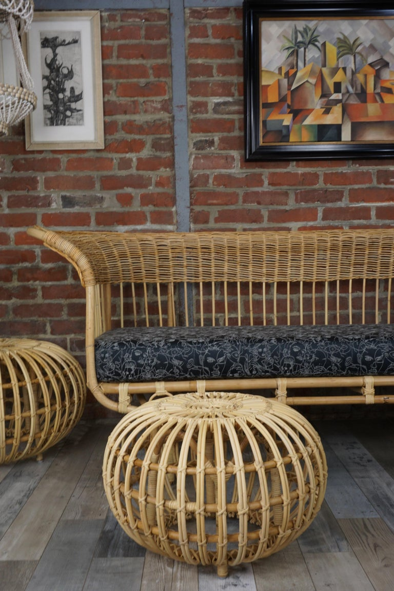 European Franco Albini Design Large Rattan Ottoman For Sale
