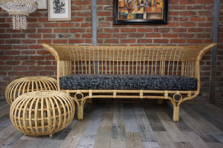 Franco Albini Design Large Rattan Ottoman In New Condition For Sale In TOURCOING, FR