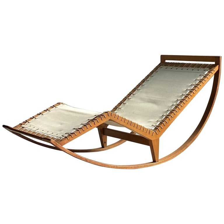 """Franco Albini, Early Rocking """"PS16"""" Chaise Lounge, Sycamore, 1956, Poggi, Italy For Sale"""