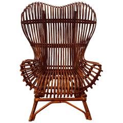 "Franco Albini for Bonacina, Midcentury Rattan Chair ""Gala"", 1951"