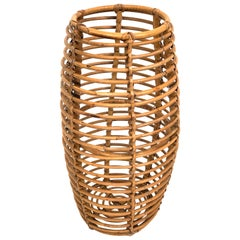 Franco Albini for Bonacina Umbrella Stand or Basket in Bamboo Curved Italy 1950s