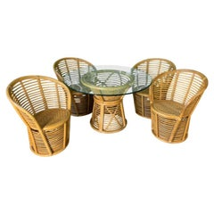 Franco Albini Horizontal Rattan Style Dining Set