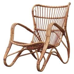 Franco Albini Style Bamboo Lounge Chair