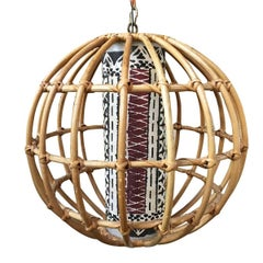 Franco Albini Inspired Stick Rattan Spherical Chandelier
