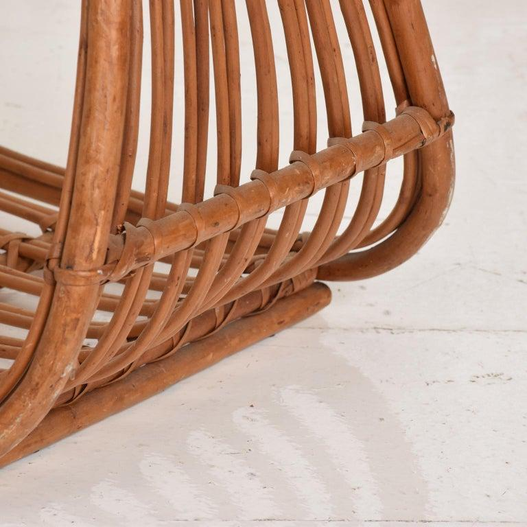 Mid-Century Modern Franco Albini Leather Rattan Basket Italian Magazine Holder Rack  - 1960s Italy For Sale