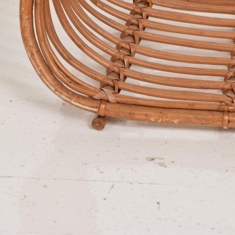 Franco Albini Leather Rattan Basket Italian Magazine Holder Rack  - 1960s Italy In Good Condition For Sale In National City, CA