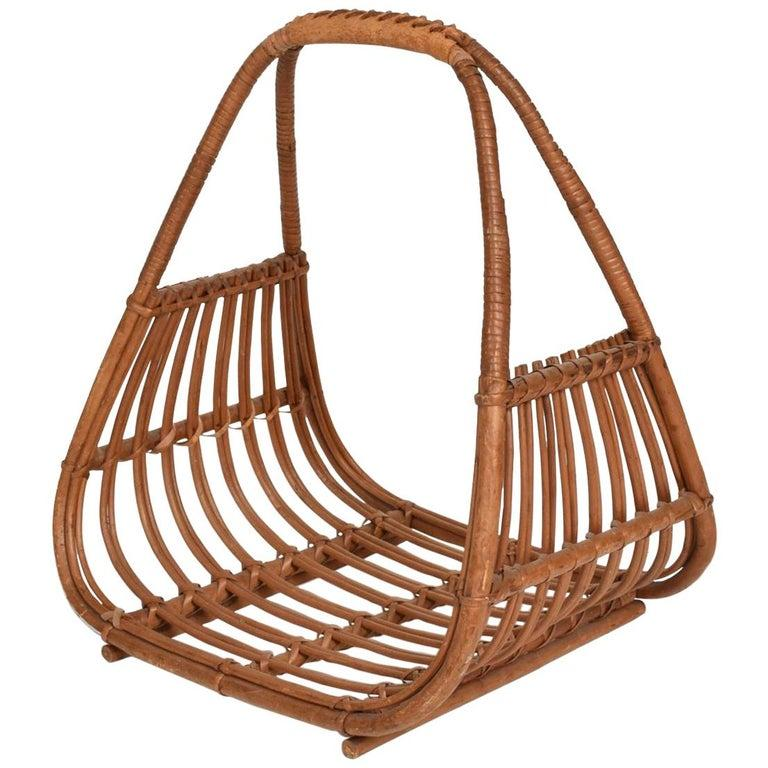 Franco Albini Leather Rattan Basket Italian Magazine Holder Rack  - 1960s Italy For Sale 4