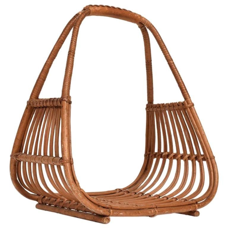 Franco Albini Leather Rattan Basket Italian Magazine Holder Rack  - 1960s Italy For Sale