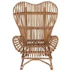 "Franco Albini Midcentury Italian Ratan Armchair Model ""Gala"" Vittorio Bonacina"