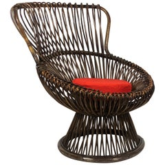 "Franco Albini Midcentury Early ""Margherita"" Wicker Chair for Bonacina, 1951"