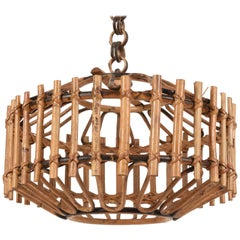 Franco Albini Midcentury French Riviera Bambo and Rattan Chandelier, Italy 1960s