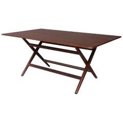 Franco Albini Midcentury Walnut Trestle Table Foldable from 1950s