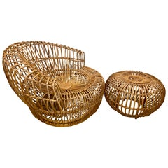 Franco Albini Natural Basket Wicker Rattan Chair and Ottoman Made in Italy
