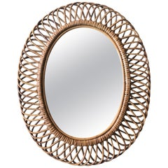 Franco Albini Oval Rattan and Bamboo Mirror