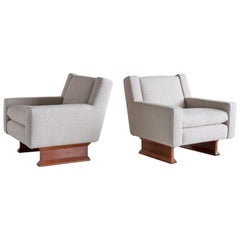 Franco Albini Pair of PL34 Armchairs in Bouclé and Teak for Poggi, Italy, 1966