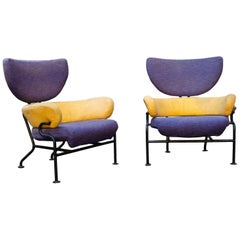 "Franco Albini Pair of ""Tre Pezzi"" Armchairs, Original Fabric, 1960, Italian"