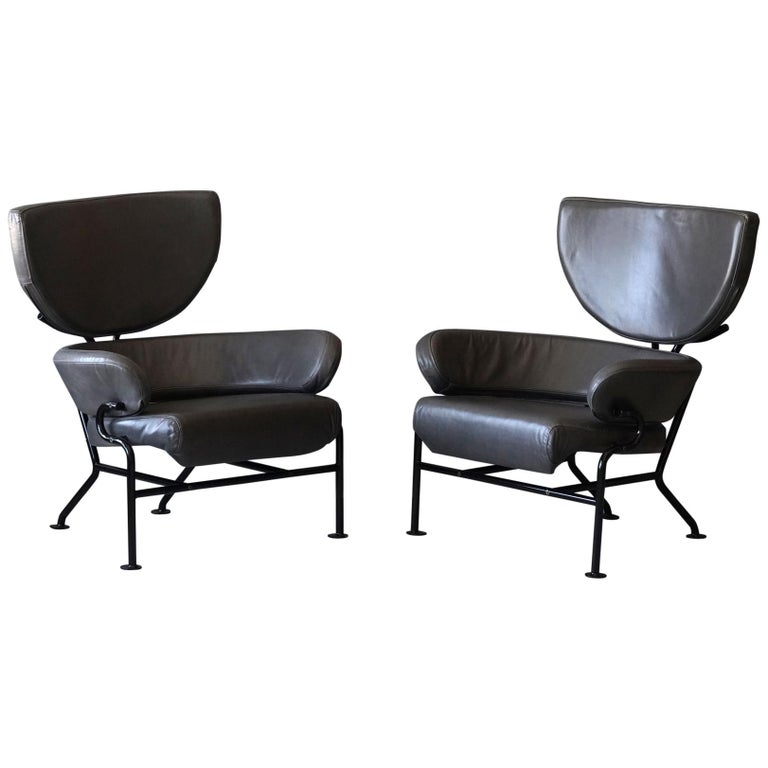 """Franco Albini, Pair of """"Tre Pezzi"""" Lounge Chairs, Grey Leather, 1959 Italian For Sale"""