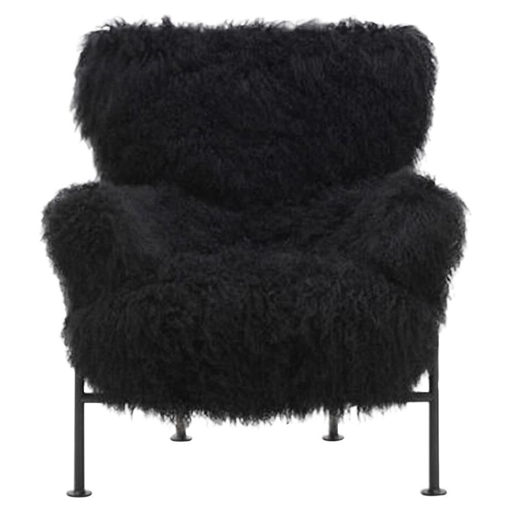 Franco Albini PL19 or Tre Pezzi Armchair in Black Mongolian Fur for Poggi Pavia