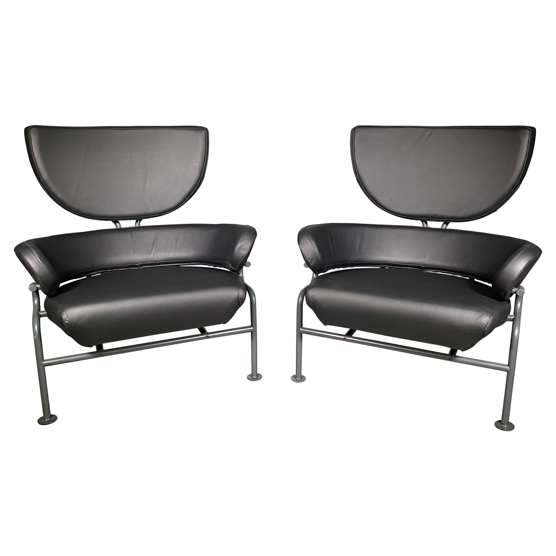 "Franco Albini Poggi Pair ""Tre Pezzi"" Lounge Chairs, Black Leather, 1959, Italian"