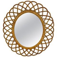 Franco Albini Rattan and Bamboo Wall Mirror, Italy, 1960s Italian Riviera