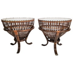 Rattan Asian Fishing Basket Glass Top Midcentury Side Tables