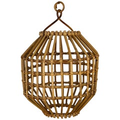 Franco Albini, Rattan Bamboo Cage Chandelier Pendant, Italy 1960s