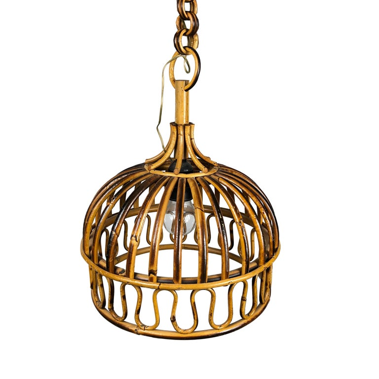 Mid-Century Modern Franco Albini, Rattan Bell Shaped Pendant, French Riviera Style, Italy, 1960s For Sale
