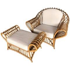 Franco Albini Rattan Chair and Ottoman Set, 1980s