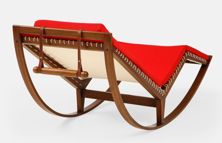 Leather Franco Albini Rocking Chaise Model PS16 For Sale