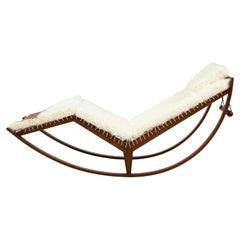 Franco Albini Rocking Chaise Model PS16 with Kalgan Lamb and Leather Cushions