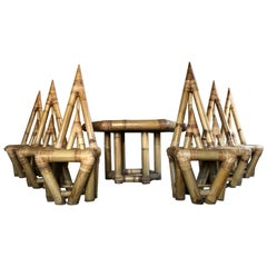 Italian Sculptural Bamboo Dining Set, Six Chairs and Table, 1968