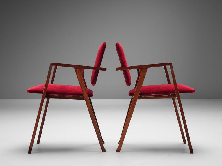 Franco Albini Set of Eight 'Luisa' Dining Chairs in Red Upholstery For Sale 3