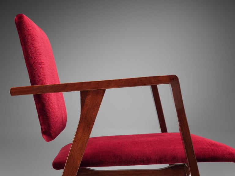 Franco Albini Set of Eight 'Luisa' Dining Chairs in Red Upholstery For Sale 4