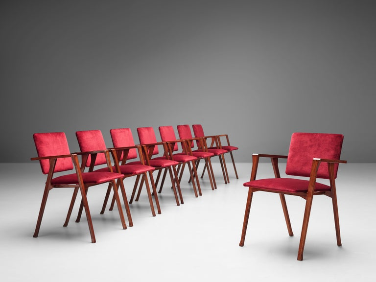Franco Albini, set of 8 'Luisa' dining chairs, walnut, red velvet upholstery, Italy, design 1949-1955  The 'Luisa' armchair by Franco Albini, designed between 1949 and 1955, won the Compasso d'Oro price in 1955 and is part of the permanent furniture