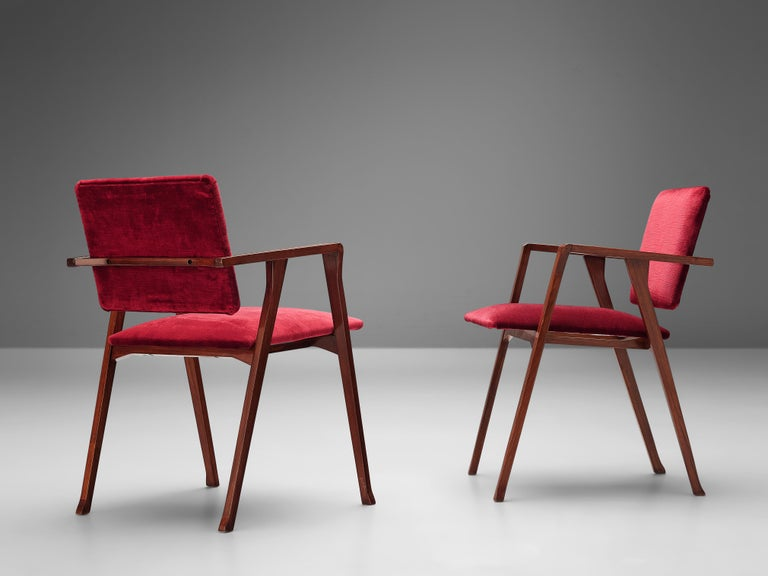 Mid-Century Modern Franco Albini Set of Eight 'Luisa' Dining Chairs in Red Upholstery For Sale