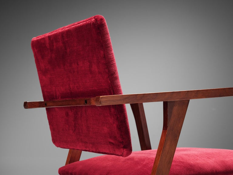 Italian Franco Albini Set of Eight 'Luisa' Dining Chairs in Red Upholstery For Sale
