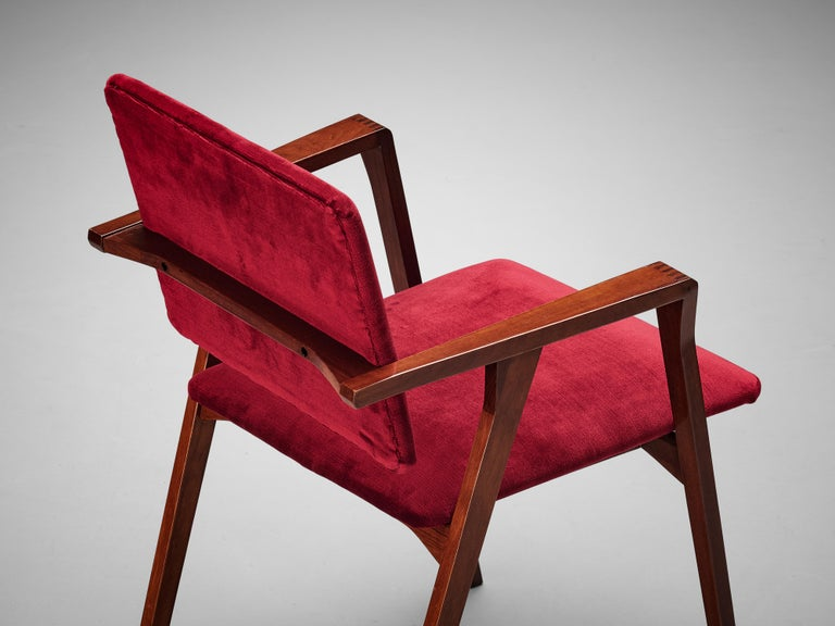Mid-20th Century Franco Albini Set of Eight 'Luisa' Dining Chairs in Red Upholstery For Sale