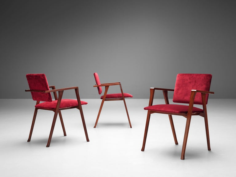Velvet Franco Albini Set of Eight 'Luisa' Dining Chairs in Red Upholstery For Sale
